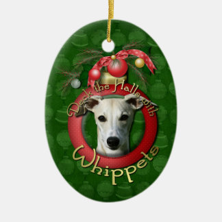 Christmas - Deck the Halls - Whippets Double-Sided Oval Ceramic Christmas Ornament