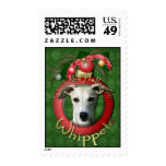 Christmas - Deck the Halls - Whippets Postage Stamps