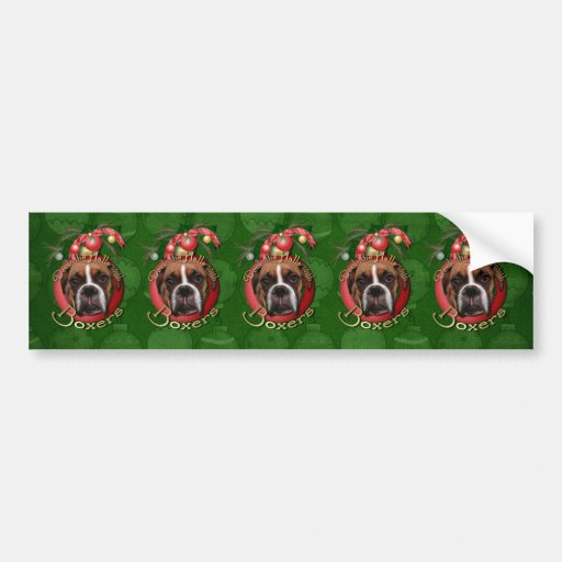 Christmas - Deck the Halls with Boxers - Marnie Car Bumper Sticker