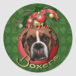 Christmas - Deck the Halls with Boxers - Marnie Round Stickers