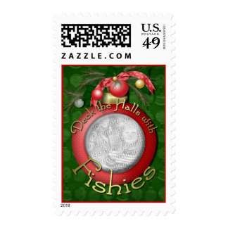 Christmas - Deck the Halls with Fishies Postage Stamp