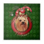 Christmas - Deck the Halls - Yorkies Ceramic Tiles