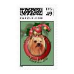 Christmas - Deck the Halls - Yorkies Postage Stamps