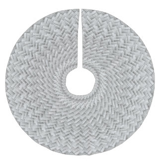 Christmas Deco, Silver Gray Geometric Basket Weave Brushed Polyester Tree Skirt