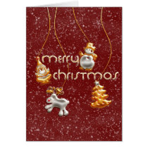 snowman, santa, xmas, christmas, tree, reindeer, holidays, snow, gold, silver, decorations, Card with custom graphic design