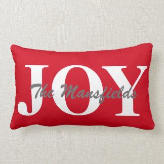 Christmas Decor Pillow Family Name Joy