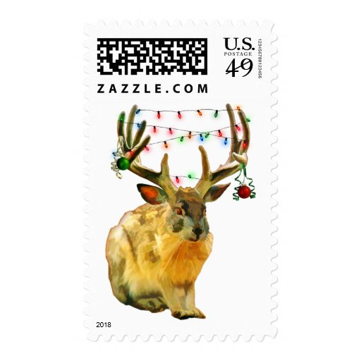Christmas Decorated Jackalope Postage Stamps