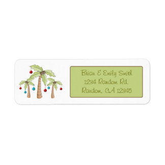 Christmas decorated palm trees return labels