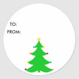 Christmas Decorated Tree Round Stickers