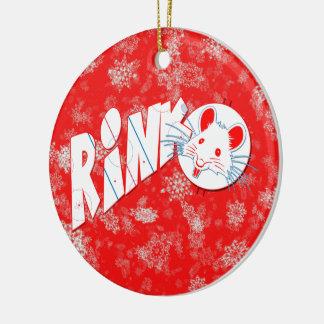 Christmas Decoration, Hockey RInk Rat Ceramic Ornament