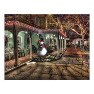 Christmas Decoration in City with Snowman by House Flyer