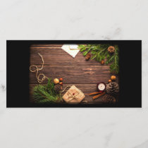 Christmas Decoration with Barn Wood and Pine Holiday Card