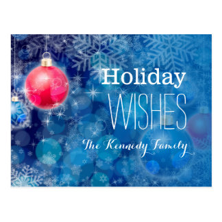 Christmas decoration with ice crystal on blue postcard