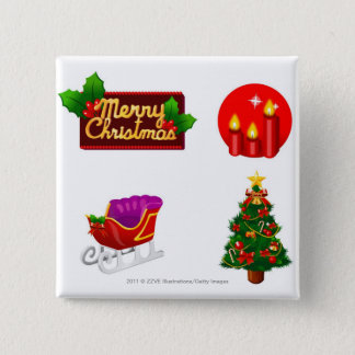 Christmas decorations against white background button
