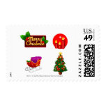 Christmas decorations against white background postage stamps