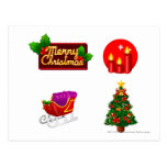 Christmas decorations against white background postcard