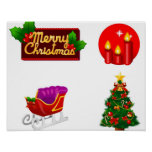 Christmas decorations against white background poster