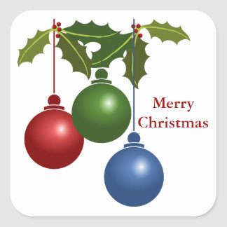 Christmas Decorations and Holly Square Sticker