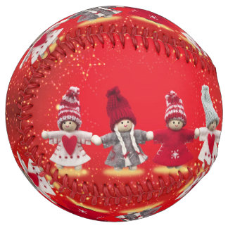 Christmas decorations on a red background softball