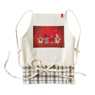Christmas decorations on a red background zazzle HEART apron