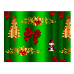Christmas Decorations on Green Postcard