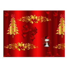 Christmas Decorations on Red Postcard
