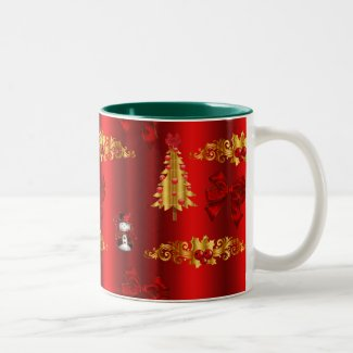 Christmas Decorations on Red Two-Tone Coffee Mug