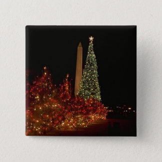 Christmas decorations on the Washington DC  Mall Button
