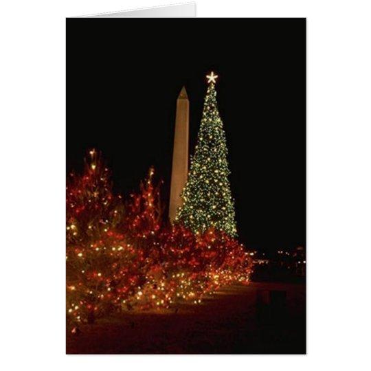Christmas decorations on the Washington DC  Mall Card