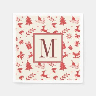 Christmas Decorative Elements Monogrammed Initial Napkin