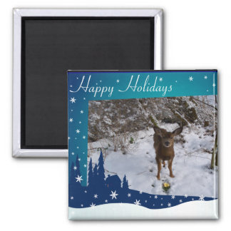 Christmas Deer 2 Inch Square Magnet