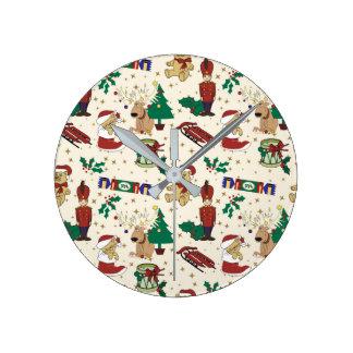 Christmas deer,bear,cat and Nutcracker Round Clock