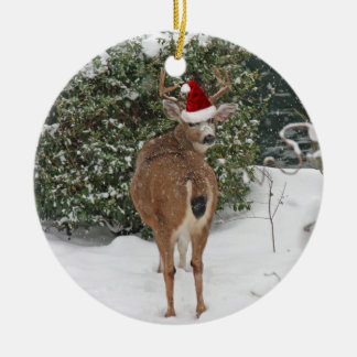 Christmas Deer Ceramic Ornament