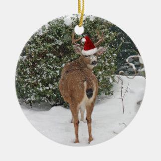 Christmas Deer Ceramic Ornament