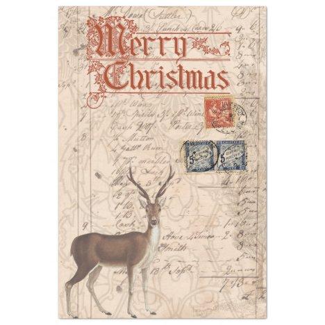 Christmas Deer Ephemera Decoupage Paper