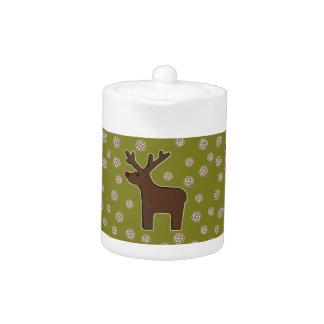 Christmas deer! green teapot