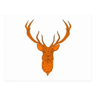 Christmas deer head abstract geometric pattern postcard