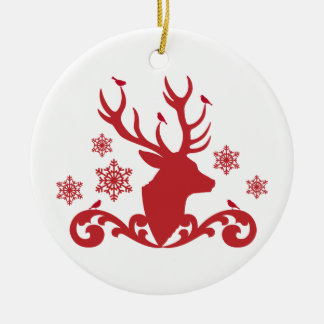 Christmas deer head with birds snowflakes ceramic ornament