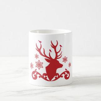 Christmas deer head with birds snowflakes mug