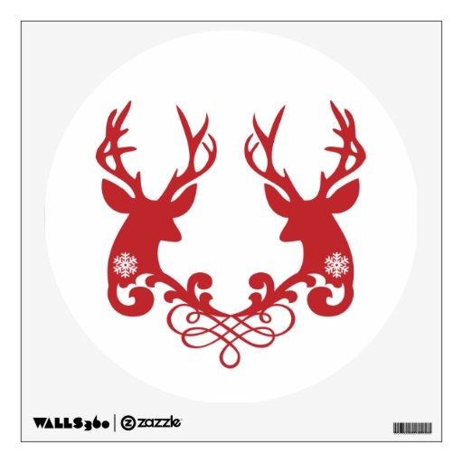 Christmas Deer Heads With Ornaments Room Decal Zazzle