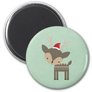 Christmas Deer In A Red Santa Hat Retro Hipster 2 Inch Round Magnet