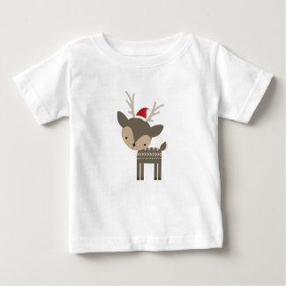 Christmas Deer In A Red Santa Hat Retro Hipster Baby T-Shirt