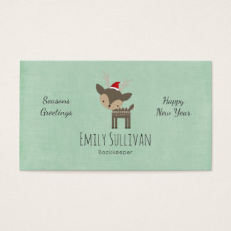 Christmas Deer In A Red Santa Hat Retro Hipster Business Card