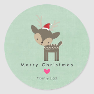 Christmas Deer In A Red Santa Hat With Pink Heart Classic Round Sticker