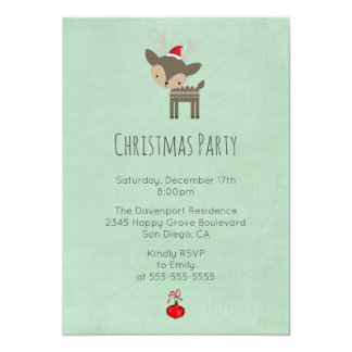 Christmas Deer In A Red Santa Holiday Party Card