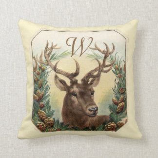 CHRISTMAS DEER,PINE CONES CROWN MONOGRAM Cream Throw Pillow