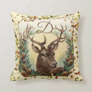 CHRISTMAS DEER,PINE CONES CROWN MONOGRAM Ivory Throw Pillow