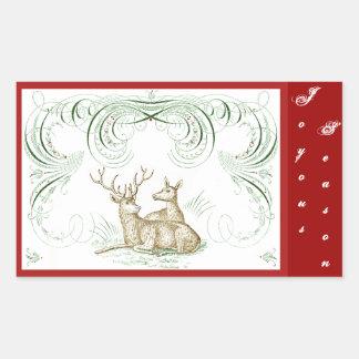 Christmas Deer Rectangular Sticker