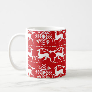 Christmas Deer Red and White Holiday Pattern Coffee Mug