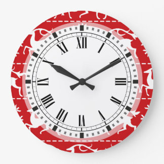 Christmas Deer Red and White Holiday Pattern Large Clock
